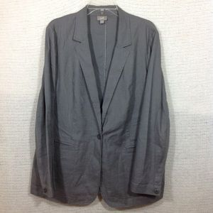 I Jill Stretch Linen Blazer L Grey 1 Button
